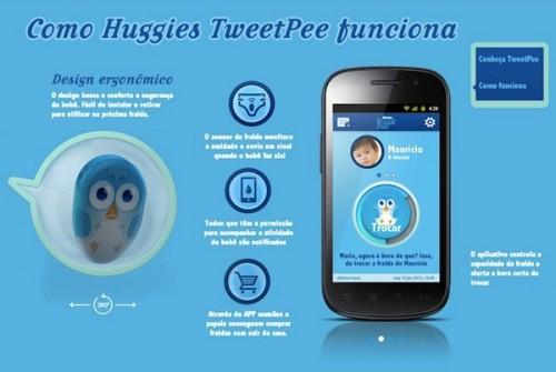 Una appHuggies tweetpee: l' app che ti avvisa quando cambiare il pannolino